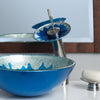 blue and silver glass sink lifestyle