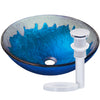 blue and silver glass sink with chrome pop-up drain
