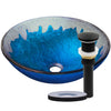 blue and silver glass sink with matte black pop-up drain