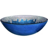blue and silver glass sink
