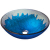 Hand Painted Blue and Silver Round Glass Sink NOHP-G017