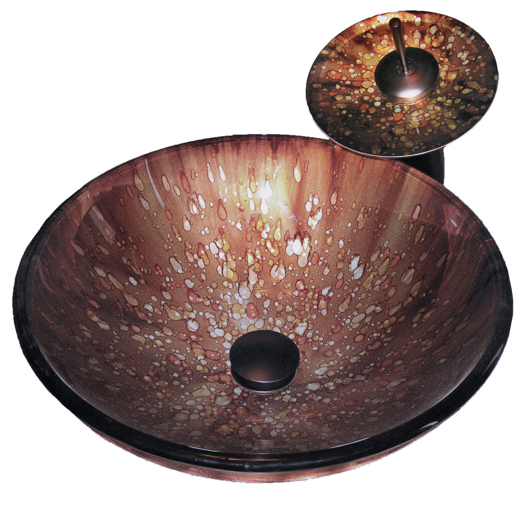 Brown Spotted Glass Vessel Sink Set