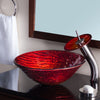 red hand painted glass vessel sink