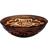 Hand Painted Brown Tan Textured  Glass Vessel Sink