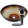 Black and Orange Glass Sink with pop-up drain, oil rubbed bronze