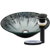 Artsy Glass Vessel Bath Sink with pop-up drain, matte black