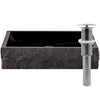 black granite stone vessel sink umbrella drain brushed nickel