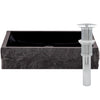 black granite stone vessel sink umbrella drain chrome