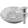 blue onyx stone vessel sink umbrella drain in brushed nickel