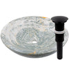 blue onyx stone vessel sink umbrella drain in matte black