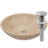 beige travertine vessel stone sink with umbrella drain, brushed nickel