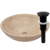 beige travertine vessel stone sink with umbrella drain, matte black
