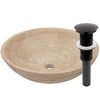 beige travertine vessel stone sink with umbrella drain, oil rubbed bronze