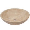 beige travertine vessel stone sink