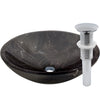 Natural Stone Round Coffee Marble Vessel Sink, umbrella drain chrome
