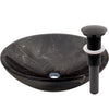 Natural Stone Round Coffee Marble Vessel Sink, umbrella drain oil rubbed bronze