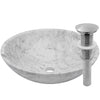 white marble stone vessel sink, umbrella drain brushed nickel