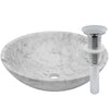 white marble stone vessel sink, umbrella drain chrome