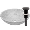 white marble stone vessel sink, umbrella drain oil rubbed bronze
