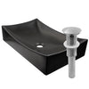 Rectangle matte black ceramic vessel sink with no overflow, umbrella drain brushed nickel