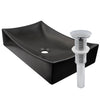 Rectangle matte black ceramic vessel sink with no overflow, umbrella drain chrome