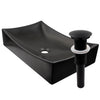 Rectangle matte black ceramic vessel sink with no overflow, umbrella drain matte black