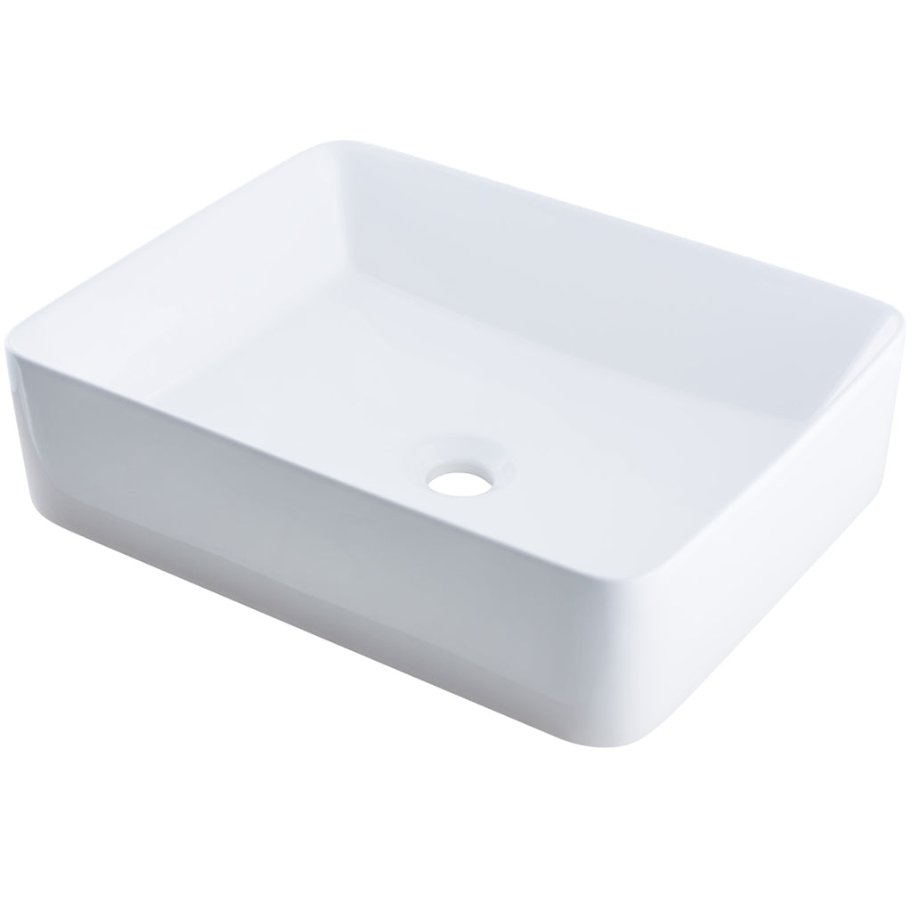 rectangular white porcelain sink for the bath