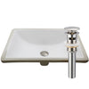 Rectangular Undermount White Porcelain Sink with Overflow, pop-up drain with overflow brushed nickel