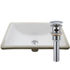Rectangular Undermount White Porcelain Sink with Overflow, pop-up drain with overflow chrome