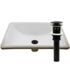 Rectangular Undermount White Porcelain Sink with Overflow, pop-up drain with overflow matte black