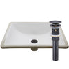 Rectangular Undermount White Porcelain Sink with Overflow, pop-up drain with overflow oil rubbed bronze