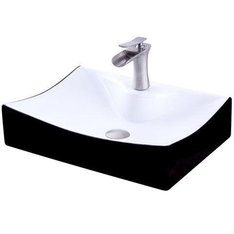 Rectangular Black/White Porcelain Sink Combo NSFC-01134BW365S