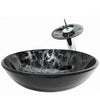 Black and Silver pattern vessel sink set