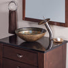 Yellow Glass Vessel Sink Set with matching faucet and pop-up drain - lifestyle
