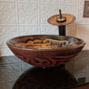 Hand Painted Brown Tan Textured  Glass Vessel Sink, lifestyle