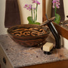 Hand Painted Brown Tan Textured  Glass Vessel Sink  with faucet and  pop up drain