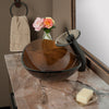 Brown Oval Glass Bath Sink Set lifestyle