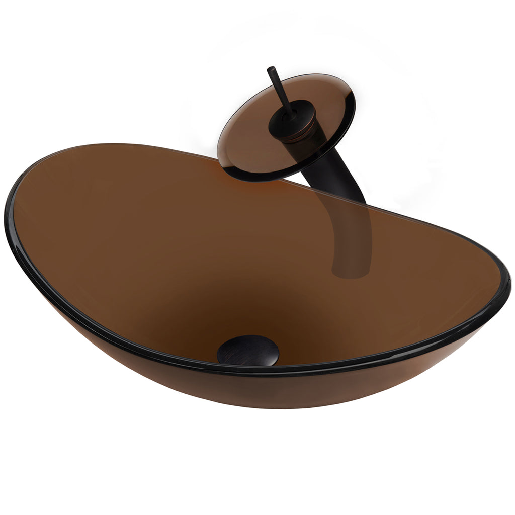 Brown Oval Glass Bath Sink Set