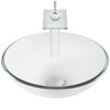 Round Clear Glass Vessel Bathroom Sink Combo NSFC-8048011