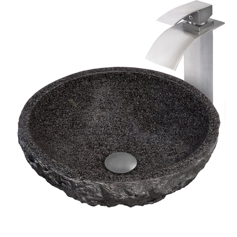 Round Black Granite Stone Bathroom Sink with matching faucet and umbrella drain