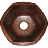 Hexagon Hammered Copper Bar Sink, TCB-004AN