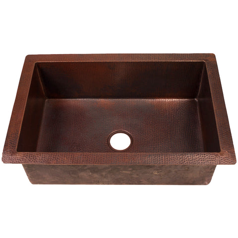 Single Bowl Undermount Copper Kitchen Sink