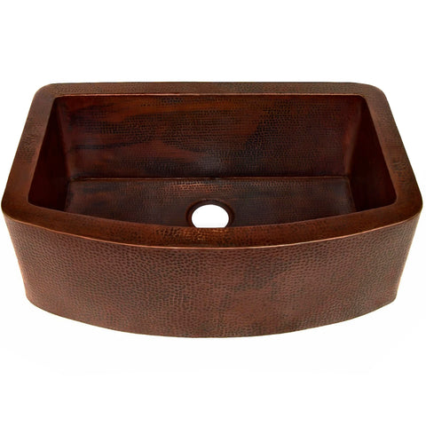 curved farmhouse copper kitchen sink