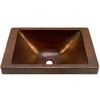 Rectangular Copper Drop-In Bath Sink in Antique TCU-013AN