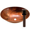 oval hammered copper bath sink with grid strainer drain, oil rubbed bronze