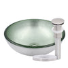 "12"" mini silver glass vessel sink with pop-up drain, brushed nickel"