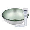 "12"" mini silver glass vessel sink with pop-up drain, chrome"