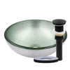 "12"" mini silver glass vessel sink with pop-up drain, matte black"