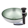 "12"" mini silver glass vessel sink with pop-up drain, oil rubbed bronze"