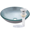 Silver Foiled Round Glass Vessel Bath Sink with pop-up drain in chrome